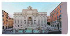 Fountain Di Trevi And Sunrise, Rome Beach Towel by Anastasy Yarmolovich