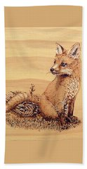 Beach Sheet featuring the pyrography Fox by Ron Haist