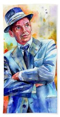 Frank Sinatra Young Painting Beach Towel