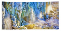 Frozen Waterfall Beach Towel