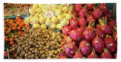 Tropical Fruits In Fruit Market, Krabi Town Beach Towel