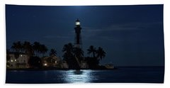 Beach Sheet featuring the photograph Full Moon Over Hillsboro Lighthouse In Pompano Beach Florida by Justin Kelefas
