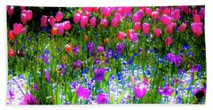Beach Towel featuring the photograph Garden Flowers With Tulips by D Davila