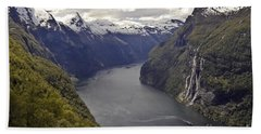 Beach Towel featuring the photograph Geiranger Fjord by Heiko Koehrer-Wagner