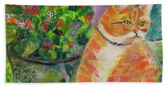 Ginger With Flowers Beach Towel