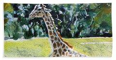 Beach Sheet featuring the painting Giraffe by Kovacs Anna Brigitta
