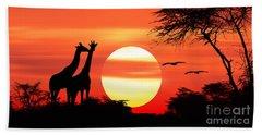 Giraffes At Sunset Beach Sheet