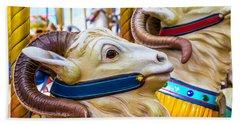 Goat Carrousel Ride Beach Sheet by Garry Gay