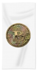 Gold Bitcoin Effigy Over White Leather Beach Towel
