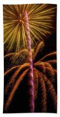 Golden Fireworks Beach Towel