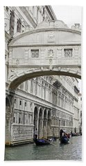 Gondolas Going Under The Bridge Of Sighs In Venice Italy Beach Towel