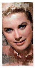 Grace Kelly, Vintage Hollywood Actress Beach Sheet by Mary Bassett