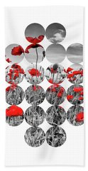 Graphic Art Poppies  Beach Towel