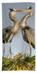 Great Blue Heron Couple Beach Sheet by Myrna Bradshaw