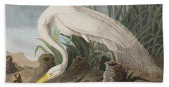 Great Egret Beach Towel by John James Audubon