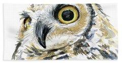 Great Horned Owl Watercolor Beach Towel