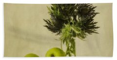 Green Apples And Blue Thistles Beach Sheet by Priska Wettstein