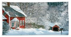 Beach Towel featuring the photograph Green River Bridge In Snow by Paul Miller