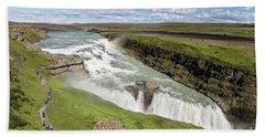 Gullfoss Waterfall In Iceland Beach Towel