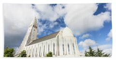 Hallgrimskirkja Church In Reykjavik Beach Towel