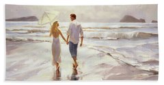 Beach Towel featuring the painting Hand In Hand by Steve Henderson