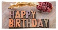 Happy Birthday Greetings Card In Wood Type Beach Towel