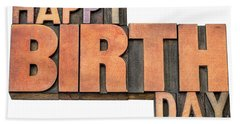 Happy Birthday Word Abstract In Wood Type  Beach Sheet