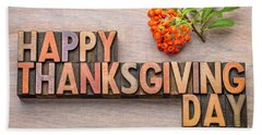 Happy Thanksgiving Day In Wood Type Beach Towel