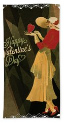 Beach Towel featuring the digital art Happy Valentines Day by Jeff Burgess