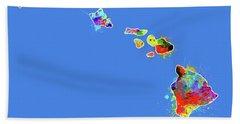 Hawaii Map Color Splatter Beach Towel