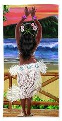 Hawaiian Sunset Hula Beach Towel