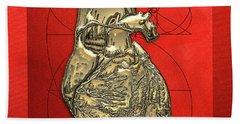 Heart Of Gold - Golden Human Heart On Red Canvas Beach Towel