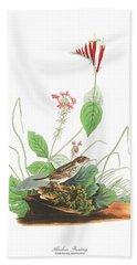 Henslow's Bunting  Beach Towel by John James Audubon
