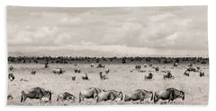 Beach Towel featuring the photograph Herd Of Wildebeestes by Stefano Buonamici