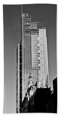 Heron Tower London Black And White Beach Sheet by Gary Eason