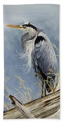 Beach Towel featuring the painting Herons Windswept Shore by James Williamson