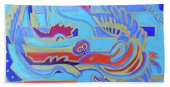 Beach Towel featuring the painting Hexagram 22-pi by Denise Weaver Ross