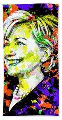 Hillary Clinton Beach Towel by Svelby Art