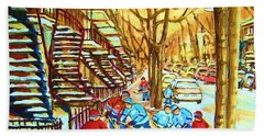 Hockey Game Near Winding Staircases Beach Towel
