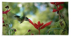 Hummingbird Delight Beach Towel by Sue Stefanowicz
