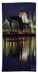 Hungarian Parliament By Night Beach Towel by Odon Czintos