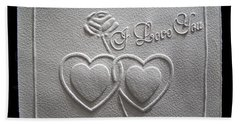 Beach Towel featuring the relief I Love You by Suhas Tavkar
