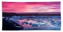 Iceberg In Jokulsarlon Glacial Lagoon Beach Sheet by Joe Belanger