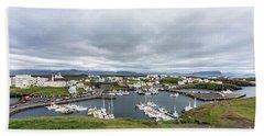 Iceland Fisherman Harbor Beach Towel