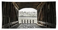 Beach Towel featuring the photograph Inside The Covered Bridge by Joanne Coyle