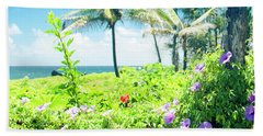 Ipomoea Keanae Morning Glory Maui Hawaii Beach Towel by Sharon Mau
