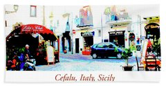 Italian City Street Scene Digital Art Beach Towel