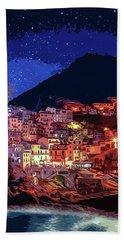 Italy, Manarola At Night Beach Towel