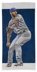 Jake Arrieta Chicago Cubs Art Beach Towel by Joe Hamilton