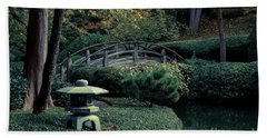 Beach Towel featuring the photograph Japanese Garden In Summer by Iris Greenwell